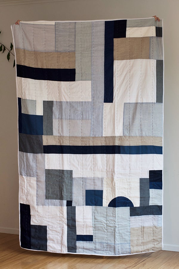Image of Handmade Quilt, Sea Blue [Single bed]