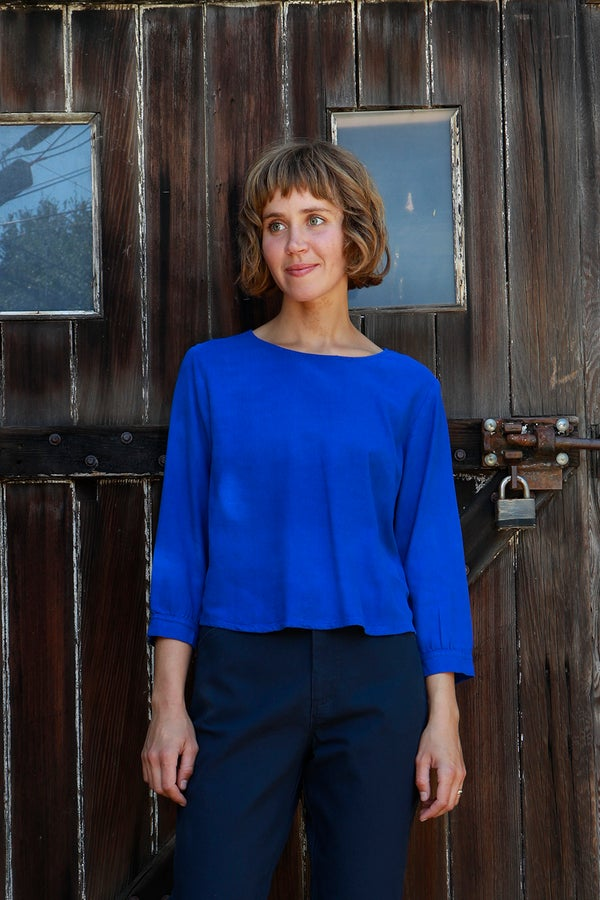 Image of Cuff Sleeve Blouse<br>Azul Blue