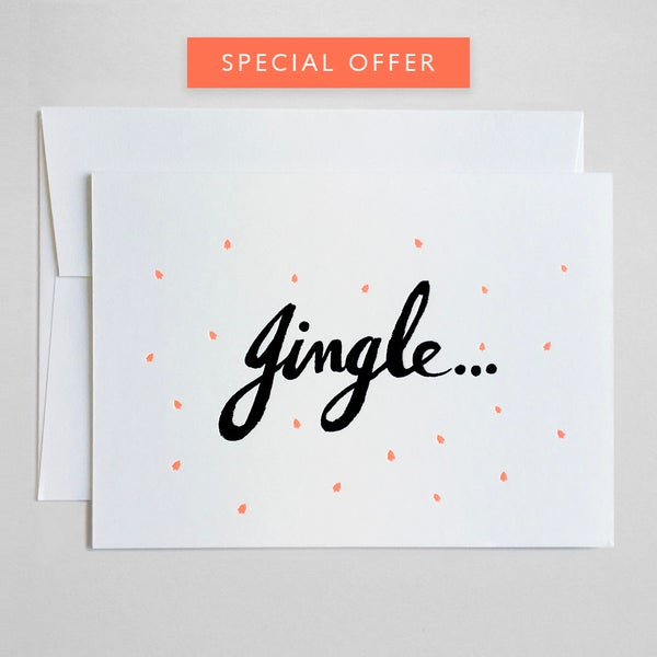 Image of Jingle bells - Neon Letterpress Christmas Card