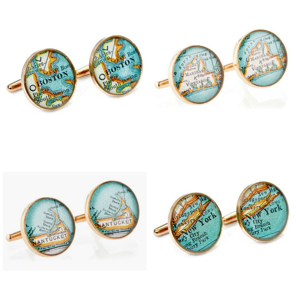 Image of Map Cufflinks Boston New York Martha's Vineyard Nantucket Golden Bronze