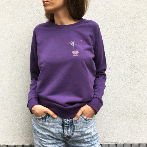 Image of Slow days - hand embroidered organic cotton sweatshirt, made to order