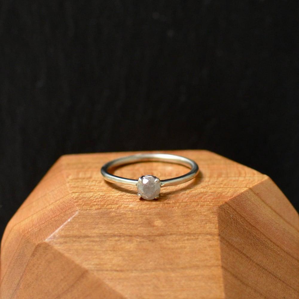 Image of misty grey salt & pepper diamond stacking ring