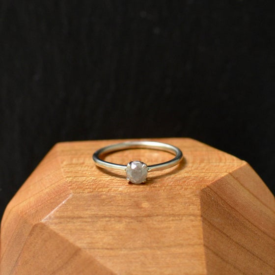 Image of misty grey salt & pepper diamond stacking ring
