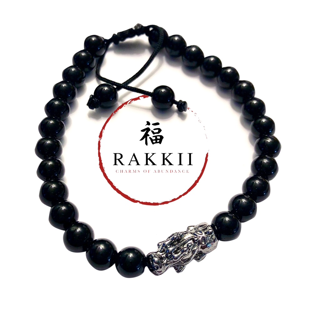 "Image of RAKKII ""Silver Pixiu with Black Obsidian Beads"" LUCK BRACELET"