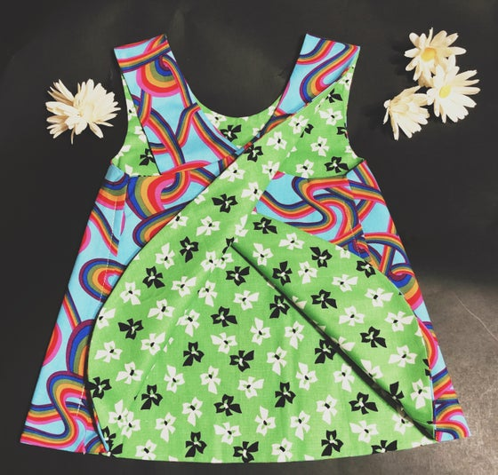 Image of 2T Rainbow Swirl / Green Bow Reversible Pinafore