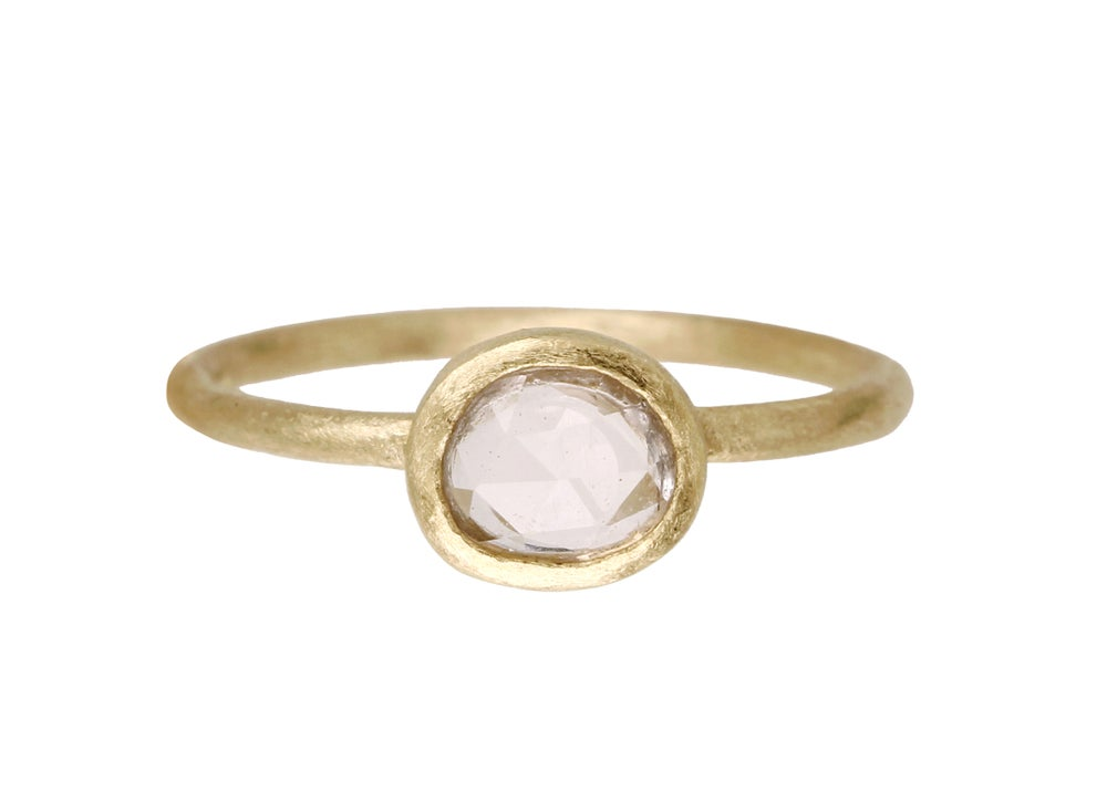 Image of Icy pink sapphire engagement ring. Rose cut. 18k. Samuel