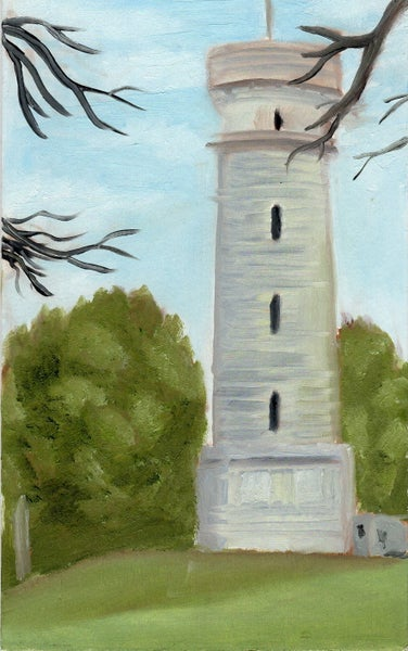 "Image of ""The Battlefield Tower"" Oil Study by lin buckner"