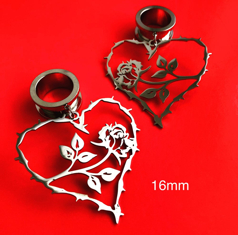 Image of HEART AND ROSE STRETCHER EARRINGS