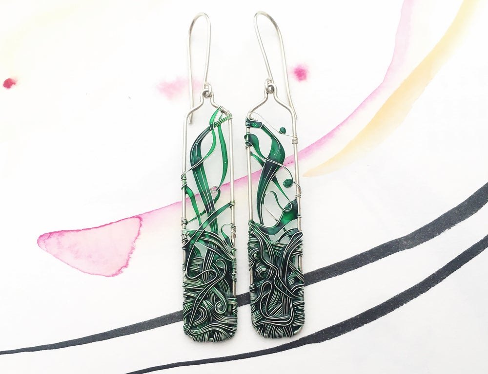 Image of Emerald Green Long Earrings