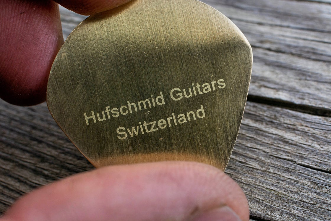 Image of Solid brass 'JazzXL Jumbo' plectrum