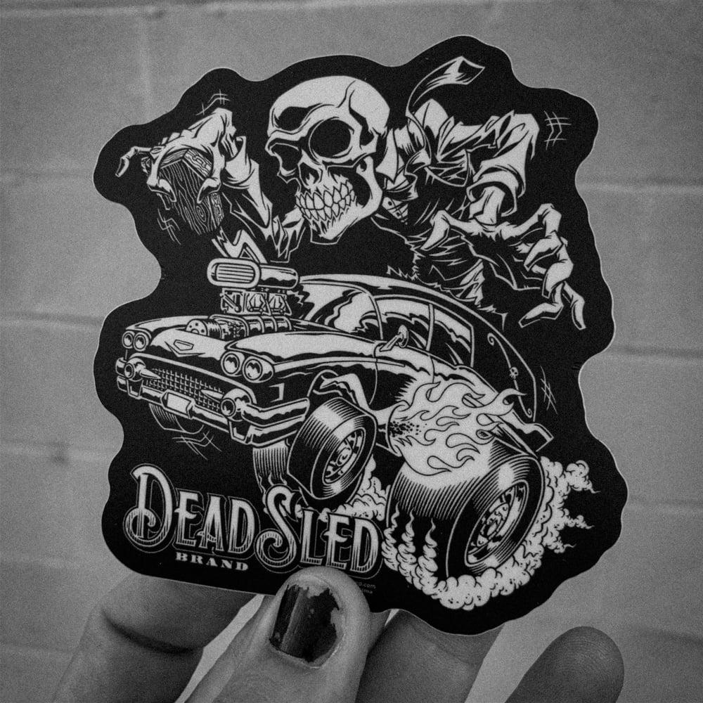 Image of Hot Rod Hearse Vinyl Sticker