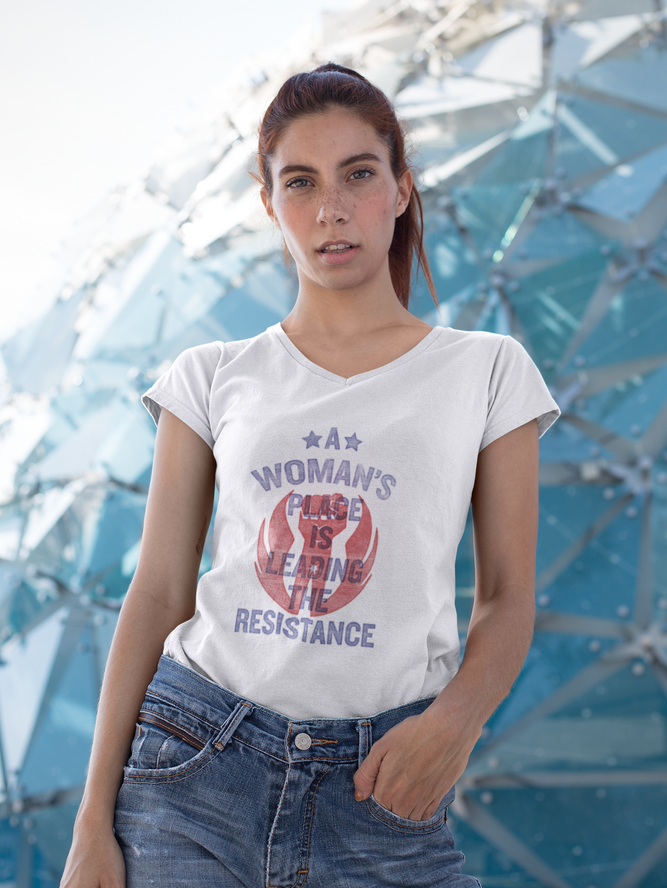 Image of V-NECK: A Woman's Place Is Leading The Resistance Shirt