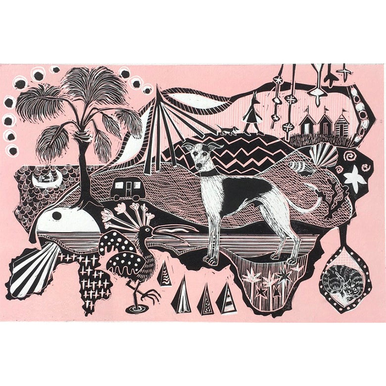Image of The whippet, the beach huts and the stripy cat