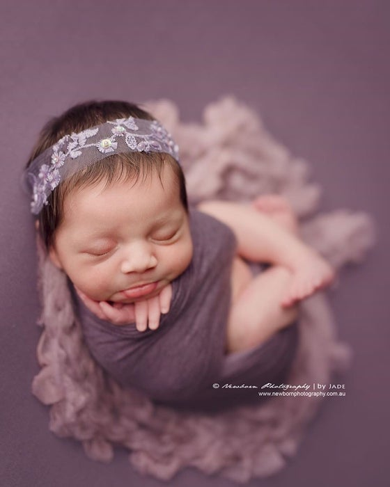 Image of Embroidery lavender tulle headband