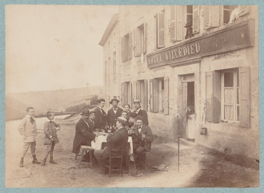 Image of Anonymous: Hôtel Villedieu, party somewhere in France, ca. 1880
