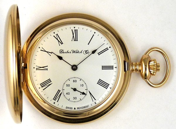 Image of Dueber Pocket Watch with Swiss Made Mechanical Movement, Gold Plated Steel Case, Model 28