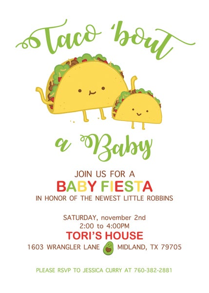 Image of Taco About a Baby Shower Invitation
