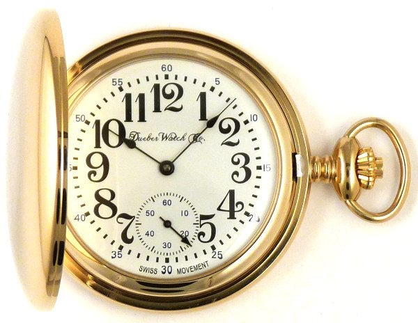 Image of Dueber Pocket Watch with Swiss Made Mechanical Movement, Gold Plated Steel Case, Model 27