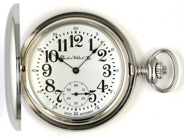 Image of Dueber Pocket Watch with Swiss Made Mechanical Movement, Chrome Plated Steel Case, Model 25
