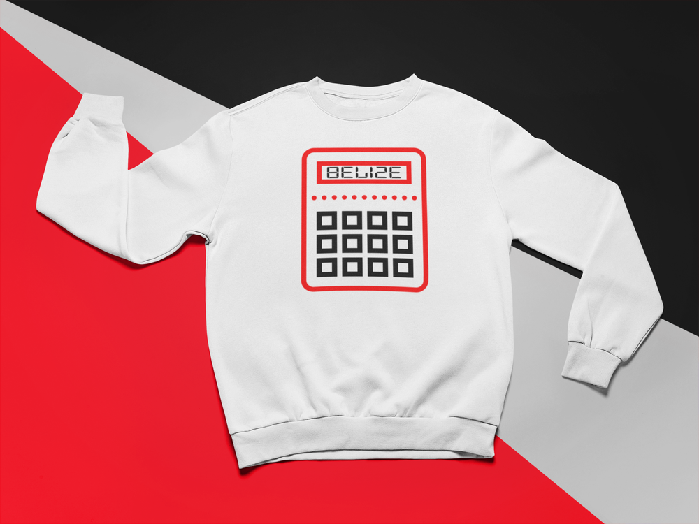 Image of BELIZE- RED/BLACK CALCULATOR CREWNECK/HOODIE