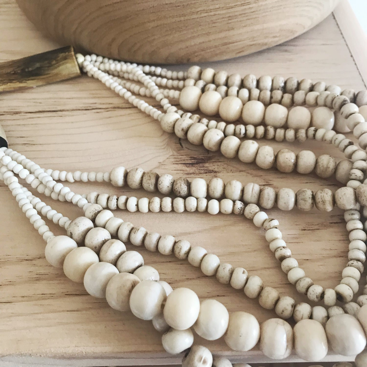 Image of Bone Bead Necklace/Home Beads