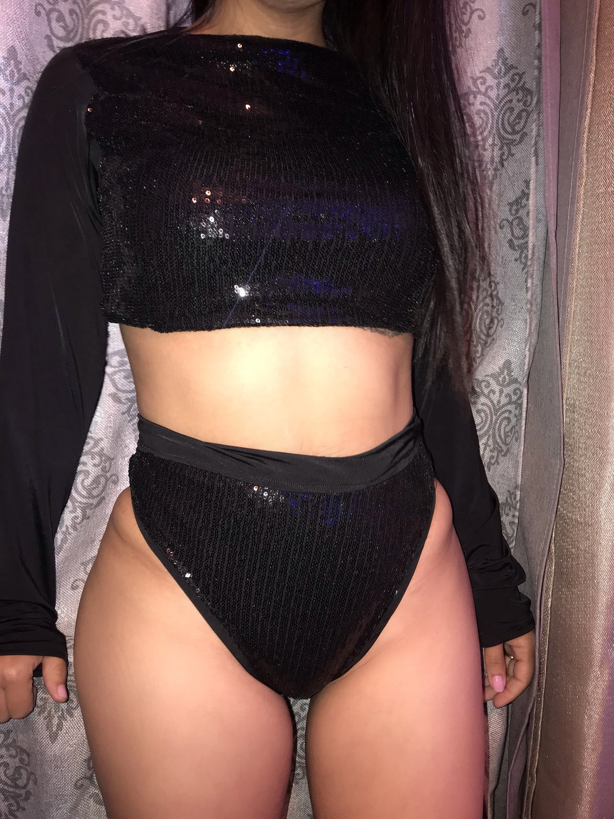 Image of BLACK SEQUIN 2 PIECE SET