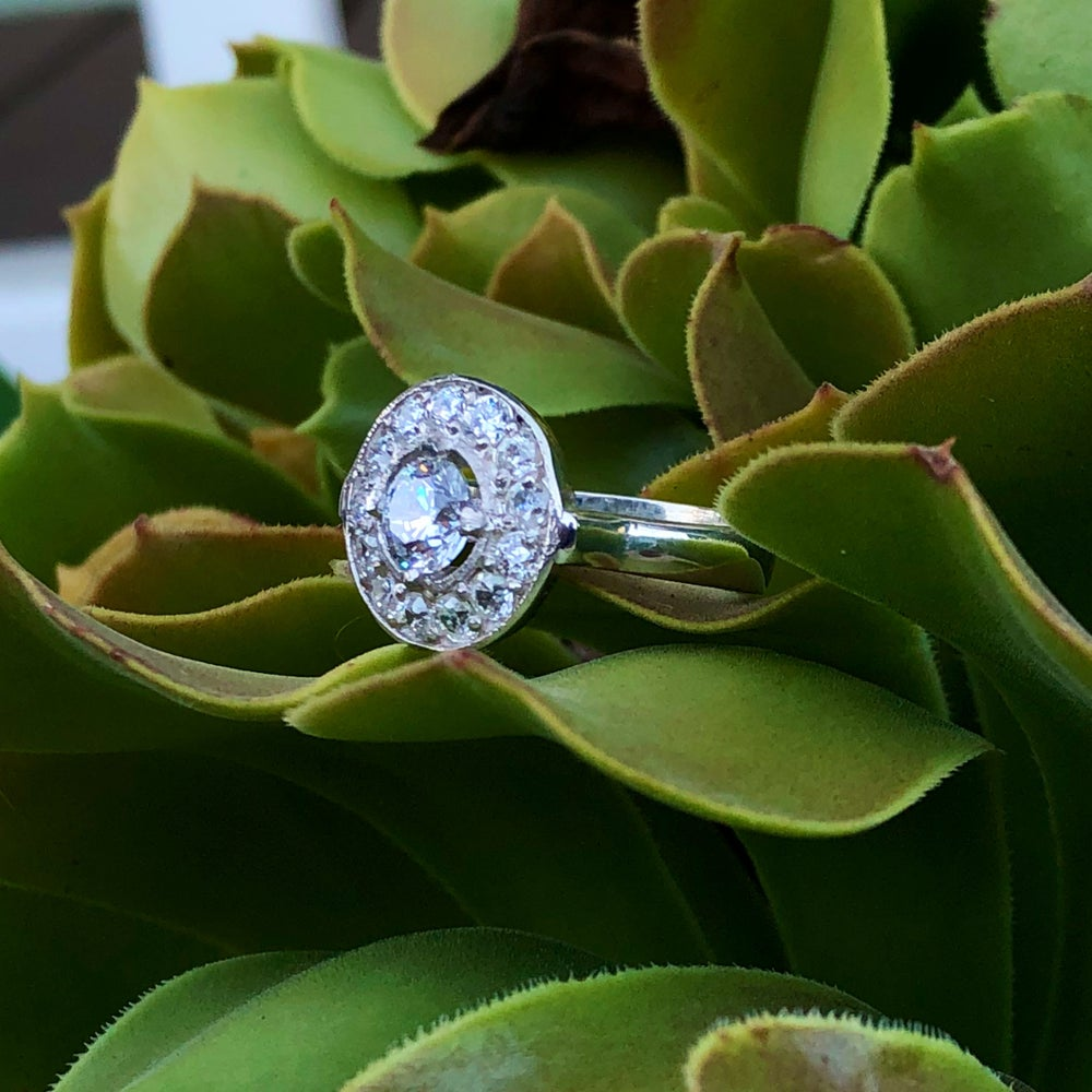 Image of Halo set CZ's in sterling silver ring