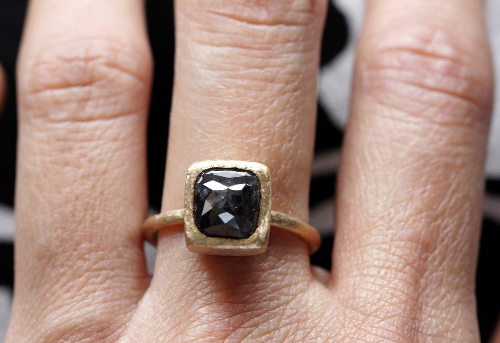 Image of Dark grey diamond cocktail ring. 18k. Frida