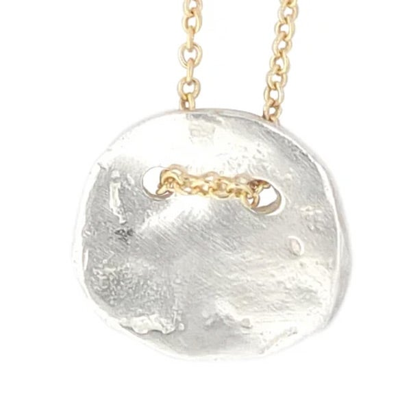 Image of Minimalist silver disc necklace