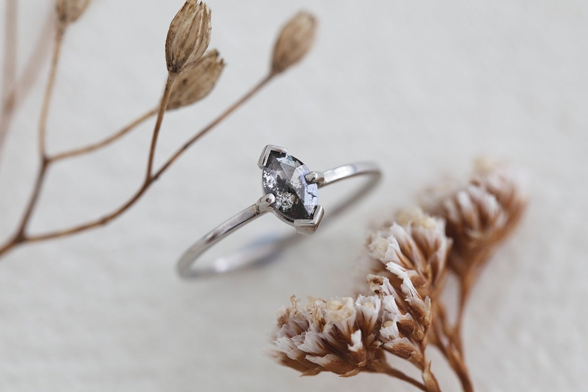 Image of Platinum marquise 'Salt and Pepper' rose cut diamond ring (IOW127)