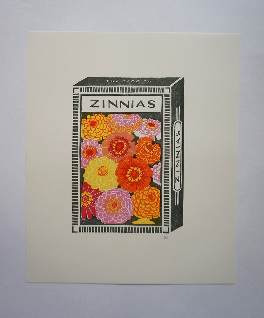 Image of September Print - Zinnias