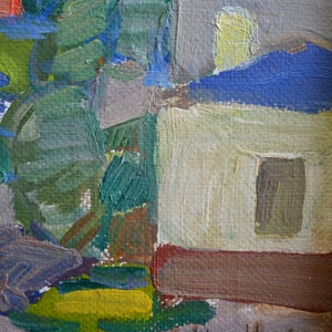 Image of Mid-Century Painting, 'Norweigan Village,' Harry Lindberg