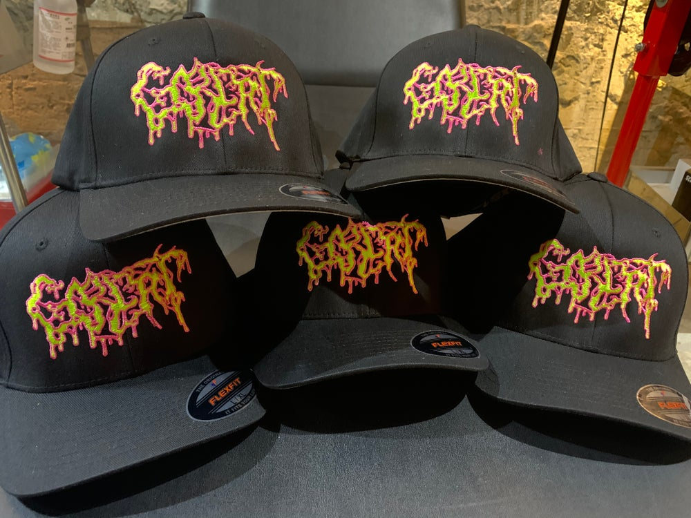Image of Officially Licensed Gorepot Logo veriation by Goremonger Green/Pink Flexfit/Yupoong hats!!