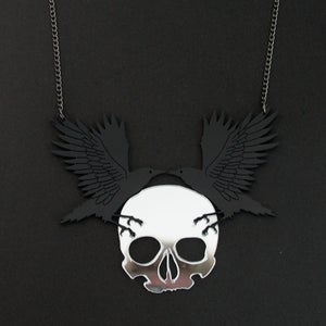Image of Gothic Crow and Skull Necklace