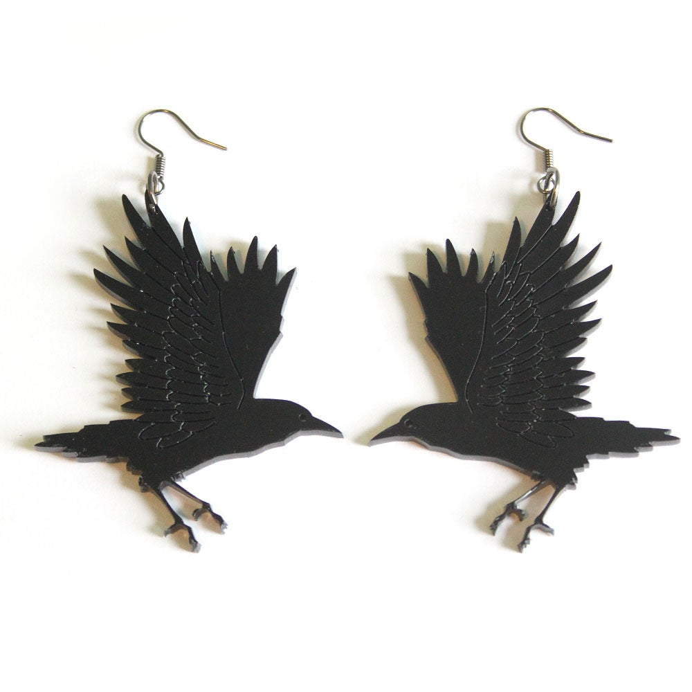 Image of Gothic Crow Earrings