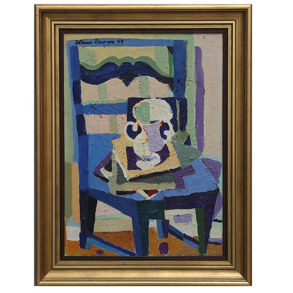 Image of 1944 Painting, 'Jug and Blue Chair,' Hans Larsson
