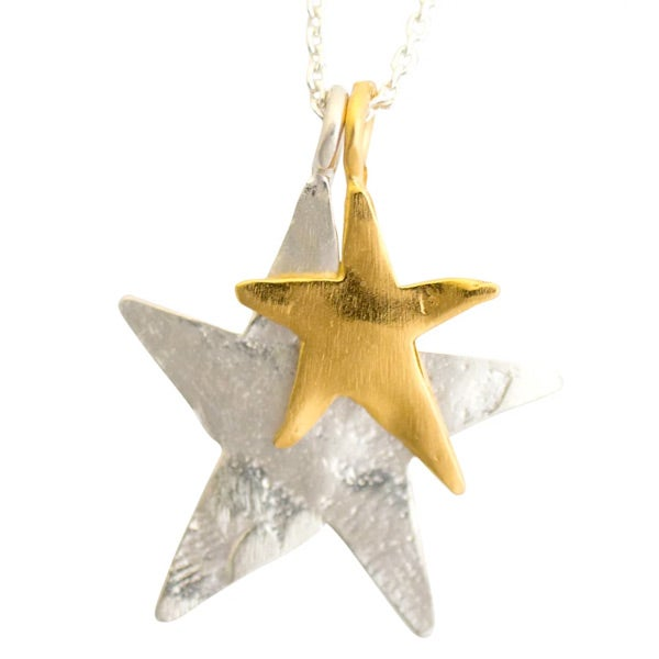 Image of Ziggy double star charm necklace