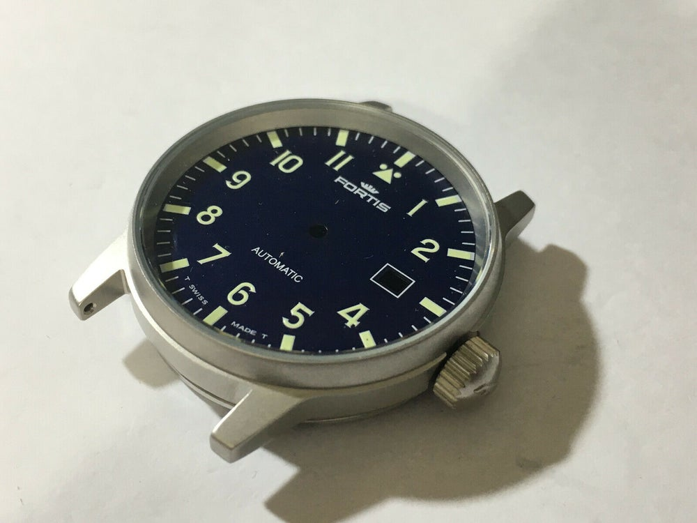 Image of Fortis Fleiger Complete Gents Watch Case - Blue Dial,date