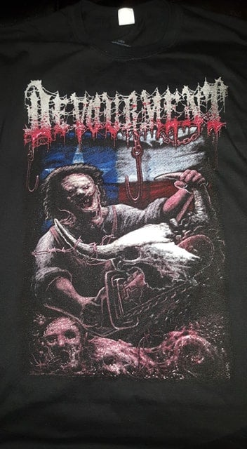 Image of DEVOURMENT CHAINSAW T SHIRT (IN STOCK)