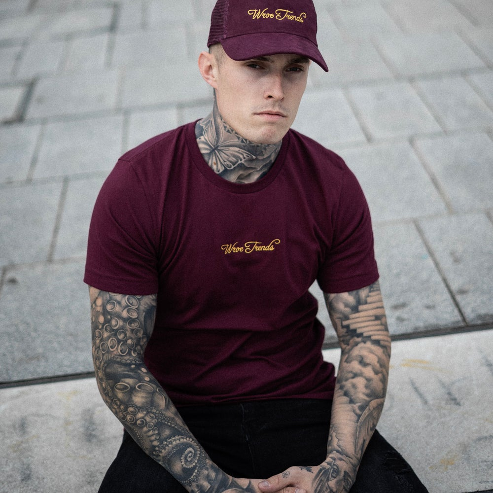 Image of BURGUNDY/GOLD TEE