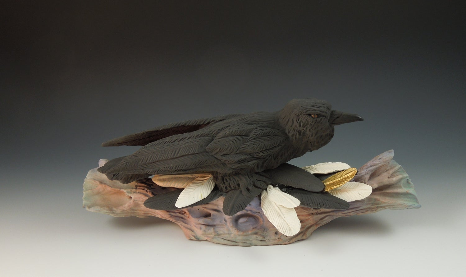 Image of Raven with Feathers