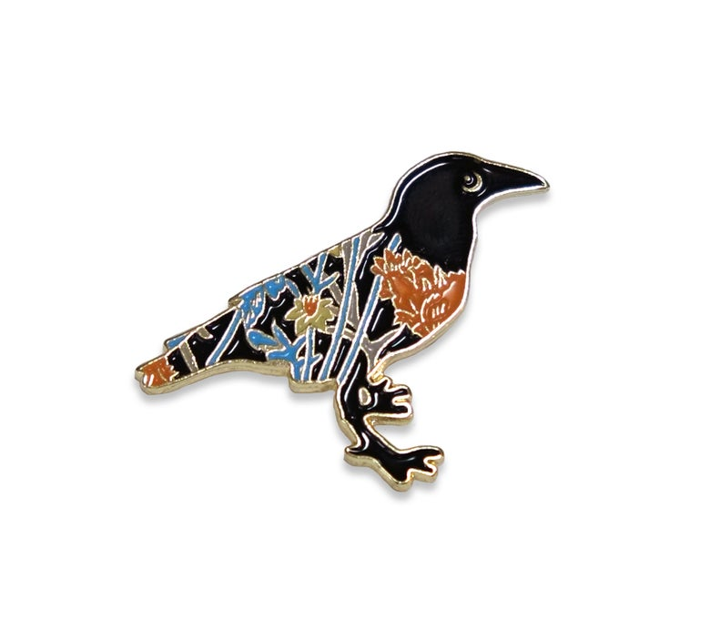 Image of Crow Floret Enamel Pin