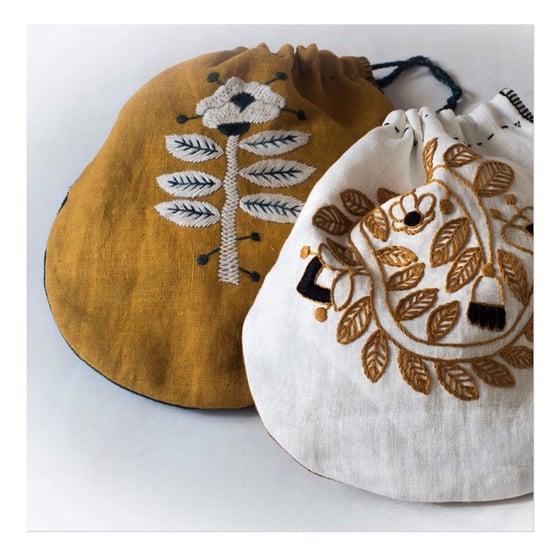 Image of Embroidered drawstring bag workshop with Kasia Sunday Nov 17 10-4pm