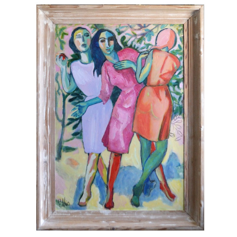 Image of Painting, 'The Three Graces Step Out,' Poppy Ellis