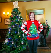 Image of Tree and Train Light Up Christmas Jumper - Unisex