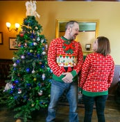 Image of Flashing Fireplace Light Up Christmas Jumper