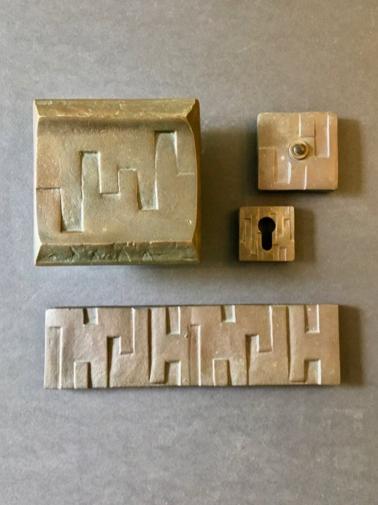 Image of Brutalist Bronze Door Handle and Fittings with Geometric Design II
