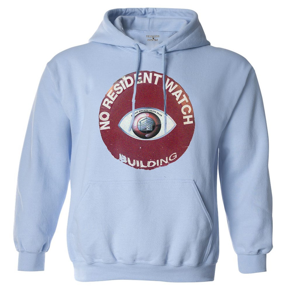 "Image of (PHST) ""NO RESIDENT WATCH"" BABY BLUE HOODIE"
