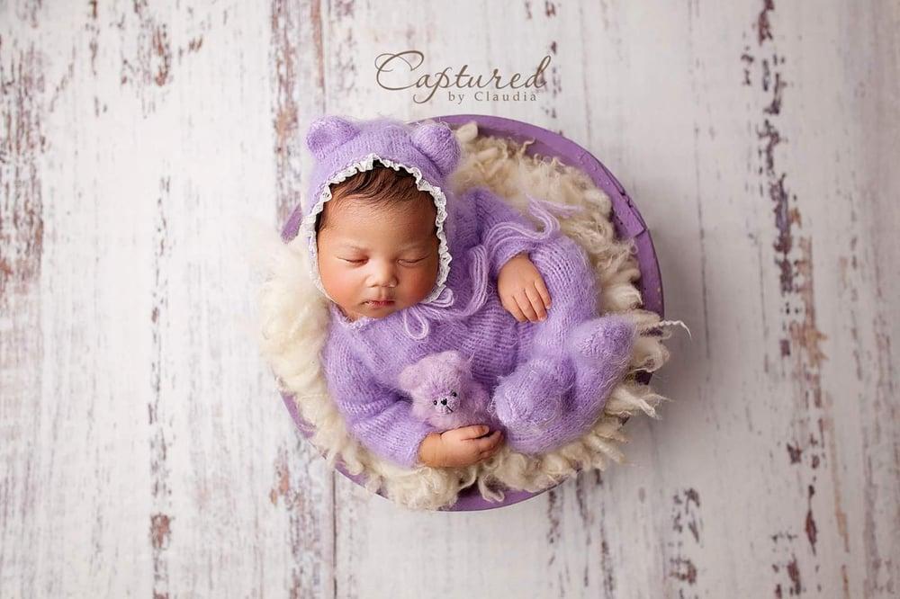 Image of Newborn teddy bear footed romper. Preorder
