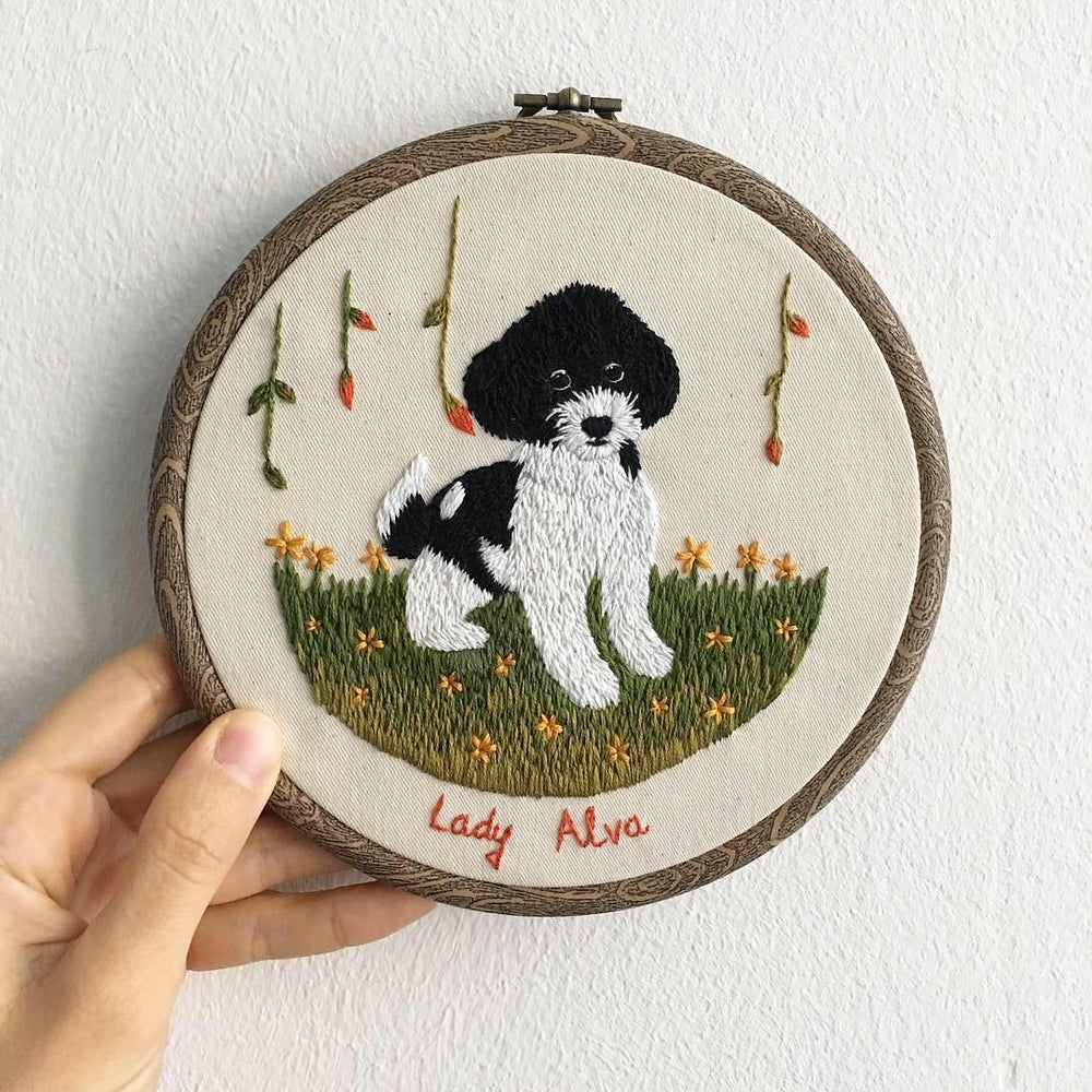 Image of Customized pet hand embroidered portrait